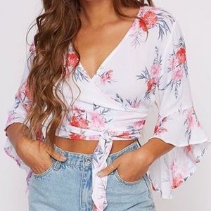 Flower Printed Woven Top - Ivory/Red/Grey